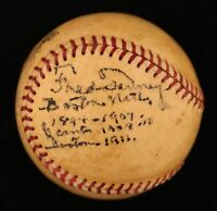RARE Fred Tenney Single Signed Heavily Inscribed National League Baseball JSA