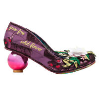 Irregular Choice Grow Free Wild Flower Purple Floral Low Globe Heel Boho Shoes