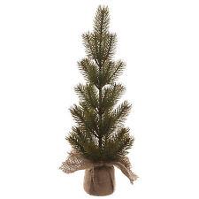 43cm Classic Rustic Green Artificial Christmas Pine Tree & Burlap Bag Base