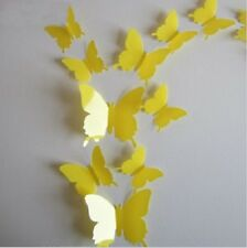 3D YELLOW BUTTERFLY WALL ART DECAL SET OF 12 (BRAND NEW)