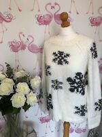 Gorgeous Next Cream Snowflake Christmas Novalty Cosy Knit Jumper 10