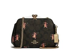 NWT Coach Pearl Kisslock crossbody In Signature Canvas With Party Mouse Print