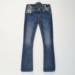 Miss Me Size 26 Blue Wash Denim Mid Rise Boot Jeans Fleur De Lis Embroidery