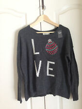 Abercrombie & Fitch Women Sweater Sz M L Gray Ornament Love Graphic Long Sleeve