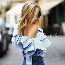 Off-the-shoulder Ruffled Striped Cotton Top