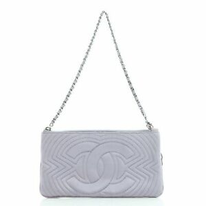 Chanel Camellia Charm Pochette Quilted Satin Small