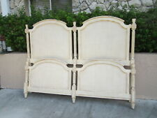 Vintage Country French King Size Headboard with Foot board Ivory
