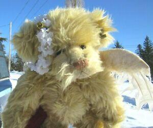 """VINTAGE TEDDY BEAR ANGEL WINGS FLOWER HEADBAND DOLL ARTIST ANNETTE FUNICELLO 10"""""""