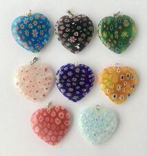 12pcsMulticolor Beautiful Bead Heart Millefiori Flower Lampwork Glass Beads 30mm