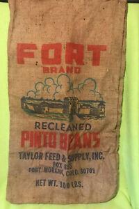 Vintage ~ Burlap Bag / Sack ~ FORT BRAND ~ Taylor Feed ~ Fort Morgan, Co ~ Beans