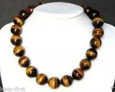 """Beautiful Natural 12MM Tiger's-eye Gems Round Beads Necklace 18"""""""
