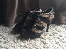 Black Lace Up High Heels Used