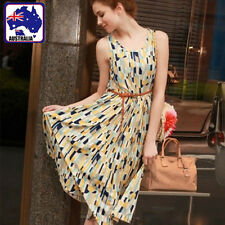 Sexy Girl Women Sleeveless Dress Skirt Vintage Plaid Blue CSKIR2501