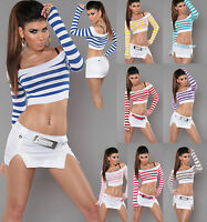 NEW WOMEN CLUBBING SEXY DANCE TOP STRIPE CROP LADIES BLOUSE SIZE 6 8 10 12 S M L