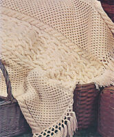 Knitting Pattern in 4 ply, Aran style Knitted Blanket- Vintage 1960s