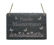 « Hier wohnt Familie - IHR NAME - » Schiefertafel Türschild mit Schmetterlingen