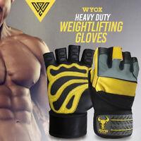 Wyox Leather Gym Gloves Wrist Wraps Bodybuilding Power lifting Heavyduty Workout