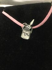 Paint Pot R98 English Pewter Emblem on a Pink Cord Necklace Handmade