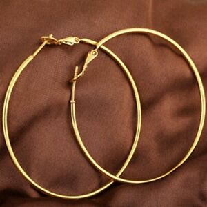 Lovely 18ct Yellow Gold Filled Ladies Large Hoop Earrings 40mm With Gift Pouch