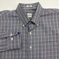 Peter Millar Button Up Shirt Mens XL Gray Purple Black Long Sleeve Cotton Checks