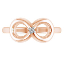 10K Rose Gold Over 0.02 Ct Diamond Infinity Style Open Back Adjustable Toe Ring