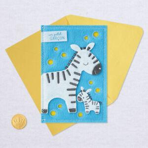 Hallmark Baby Boy Congratulations by Signature ~ 3D Soft Cover Felt Zebra & Baby
