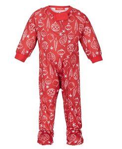 Family Pajamas Baby Ornament Print Footed Pajamas Red