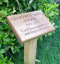 300mm x 200mm Solid English Oak Wood Memorial Plaque c/w Ground Fixing Post