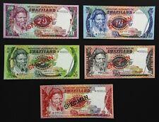 1978 Swaziland Banknote Specimen Set - 1,2,5,10,20 Emalangeni. Uncirculated.