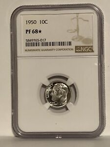 1950 STAR Roosevelt Dime NGC PF 68 STAR * Price Guide $275 - $1,200 *