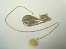 Bookmark with GATTO in Argento 925 - sagnapagina book with chain and pussy