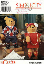 """Simplicity Decorative Bears and Clothes Pattern 8265 Size 15"""" UNCUT"""