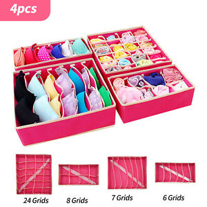 4pcs Underwear Bra Socks Ties Drawer Storage Organizer Box Closet Tidy Divider
