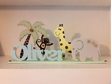 Jungle Nursery Shelf DECOR Personalised Baby Boy Poison Animal THEME Name sign