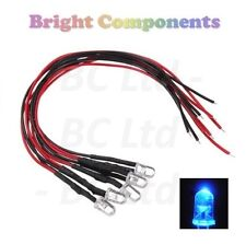 5 X pre-Wired Blue LED 5mm Ultra Brillante: 9V ~ 12V: 1st Class Post