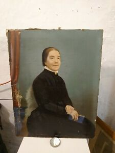 Antique Victorian Overpainted Print  Portrait, Lady Mourning