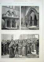 Original Old Antique Print 1882 Opening Royal Courts Justice London Victorian