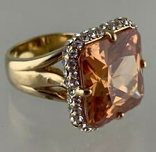 FASHION RING GOLD PLATED PEACH SQUARE CUT RHINESTONE STATEMENT RING SIZE 7