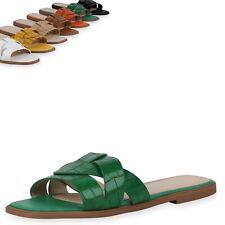 Damen Sandalen Pantoletten Schuhe Kroko Schlupfschuhe 899765 Top
