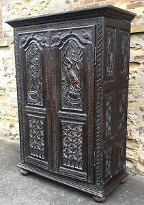 Large Antique Carved Oak Double Door Wardrobe / Cupboard