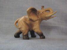"Lefton Small Brown & Tan Elephant Figurine 3 1/2"" High Has Label"