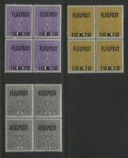 Austria 1918 Airmails Sc #C1 - C3 Mnh Og Blocks of 4 Cv $160+