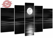 Canvas 100% Oil Hand Painted Sea White Full Moon Night Wood Framed Wall Art 5 Pc