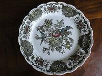 """Ridgway Windsor Hand Engraving 8 1/2"""" Dinner Plate, Bird & Flower, No Tax"""