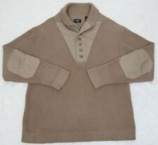 National Geographic Sweater Henley Collared Beige Tan Mens XL Extra Large Cotton