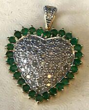 Estate Vintage 10k Gold Heart Shape pendant with diamonds and Emerald