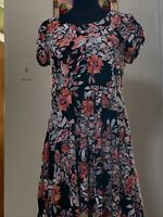 Aeropostale Juniors Black With Pink Flowers Dress Size XL
