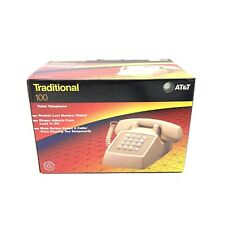 Vintage AT&T Traditional 100 Pushbutton Desk Phone with Original Box Beige