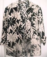 HARVE BENARD LARGE Button Down Blouse-Black/White Floral-3/4 sleeve button cuff