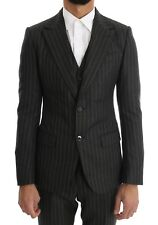 NEW $3000 DOLCE & GABBANA Suit Gray Striped Two Button 3 Piece s. EU44 / US34
